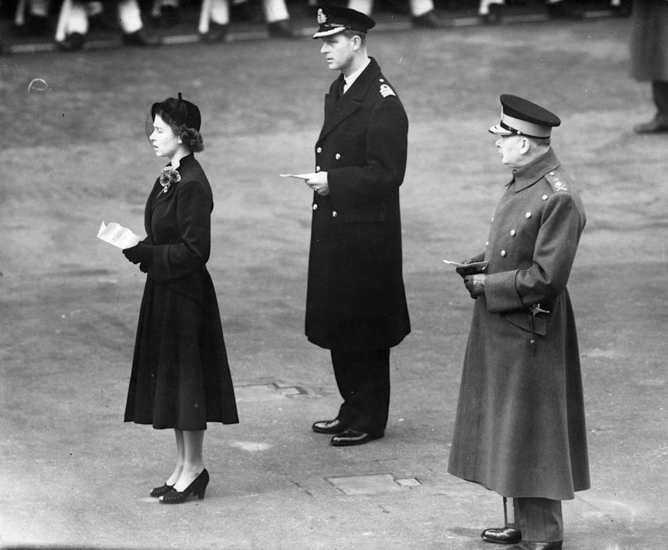 The Queen and Prince Philip at a Remembrance Day Service in 1952. Before retiring from most public duties, Prince Philip would attend the service with the Queen and later delegated the duty to Prince Charles.