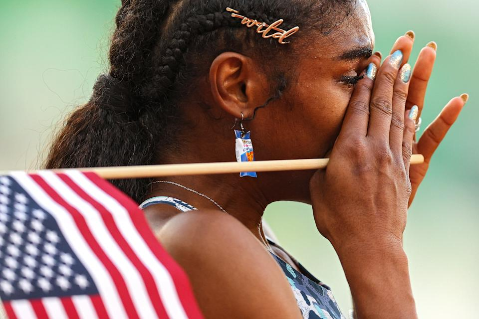 Christina Clemons made the USA Olympic track and field team in the 100-meter hurdles — while wearing Doritos earrings. (Photo by Patrick Smith/Getty Images)