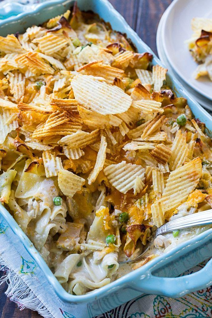 """<p>You just can't go wrong with a classic tuna noodle casserole. As an added bonus, this take is made completely from scratch—no canned soup here.</p><p><strong>Get the recipe at <a href=""""https://spicysouthernkitchen.com/from-scratch-tuna-noodle-casserole/"""" rel=""""nofollow noopener"""" target=""""_blank"""" data-ylk=""""slk:Spicy Southern Kitchen"""" class=""""link rapid-noclick-resp"""">Spicy Southern Kitchen</a>.</strong></p><p><strong><strong><strong><a class=""""link rapid-noclick-resp"""" href=""""https://www.amazon.com/Bakeware-Krokori-Rectangular-Aquamarine-Rectangula/dp/B074Z5X8MT/?tag=syn-yahoo-20&ascsubtag=%5Bartid%7C10050.g.3726%5Bsrc%7Cyahoo-us"""" rel=""""nofollow noopener"""" target=""""_blank"""" data-ylk=""""slk:SHOP BAKING DISHES"""">SHOP BAKING DISHES</a></strong></strong><br></strong></p>"""