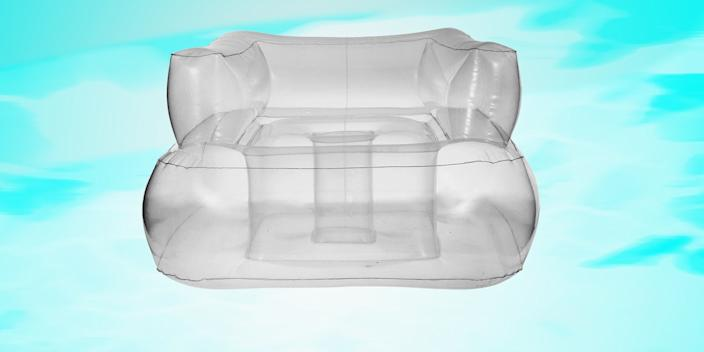 """<div class=""""caption""""> Villa26's PVC chair float harks back to pool parties of a groovier era, when there wasn't a blow-up swan or emoji in sight. Best of all, inflatable furniture is back in style, so it can totally pass as a side chair in your living room come winter. <a href=""""https://villa26.com/products/gstaad-sofa"""" rel=""""nofollow noopener"""" target=""""_blank"""" data-ylk=""""slk:SHOP NOW"""" class=""""link rapid-noclick-resp"""">SHOP NOW</a>: Gstaad sofa by Villa26, $99, villa26.com </div> <cite class=""""credit"""">Photo courtesy of Villa26</cite>"""