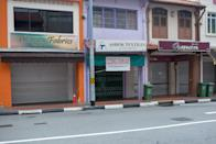 Closed shops seen along Arab Street on 7 April 2020, the first day of Singapore's month-long circuit breaker period. (PHOTO: Dhany Osman / Yahoo News Singapore)