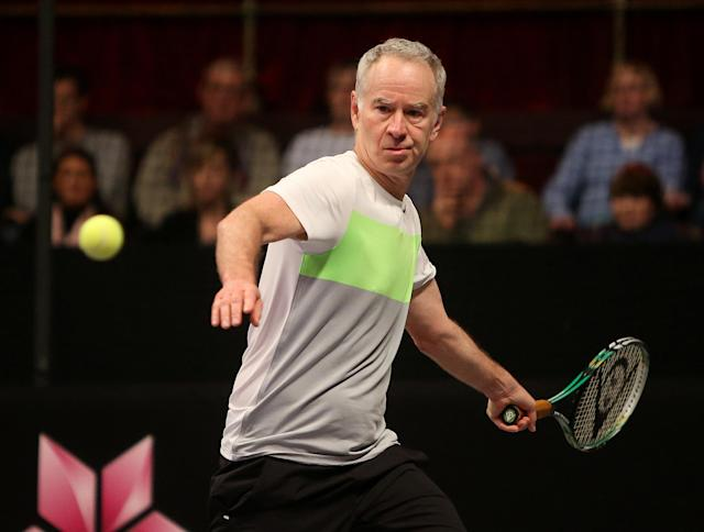 LONDON, ENGLAND - DECEMBER 08: John McEnroe looks to play a forehand during the singles final match between John McEnroe of the United States and Mats Wilander of Sweden on Day Five of the Statoil Masters Tennis at the Royal Albert Hall on December 08, 2013 in London, England. (Photo by Charlie Crowhurst/Getty Images)