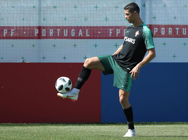 Soccer Football - World Cup - Portugal Training - Portugal Training Camp, Moscow, Russia - June 22, 2018 Portugal's Cristiano Ronaldo during training. REUTERS/Albert Gea