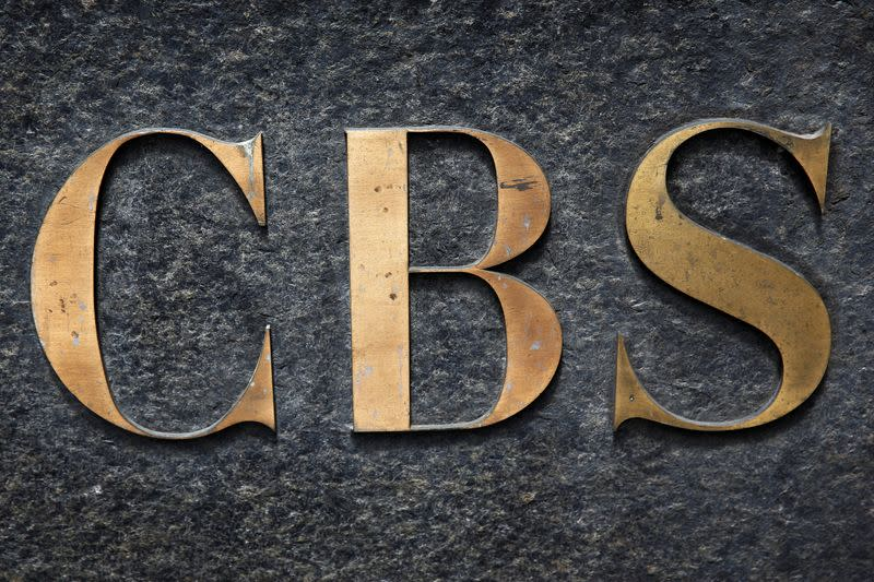 The CBS television network logo is seen outside their offices on 6th avenue in New York