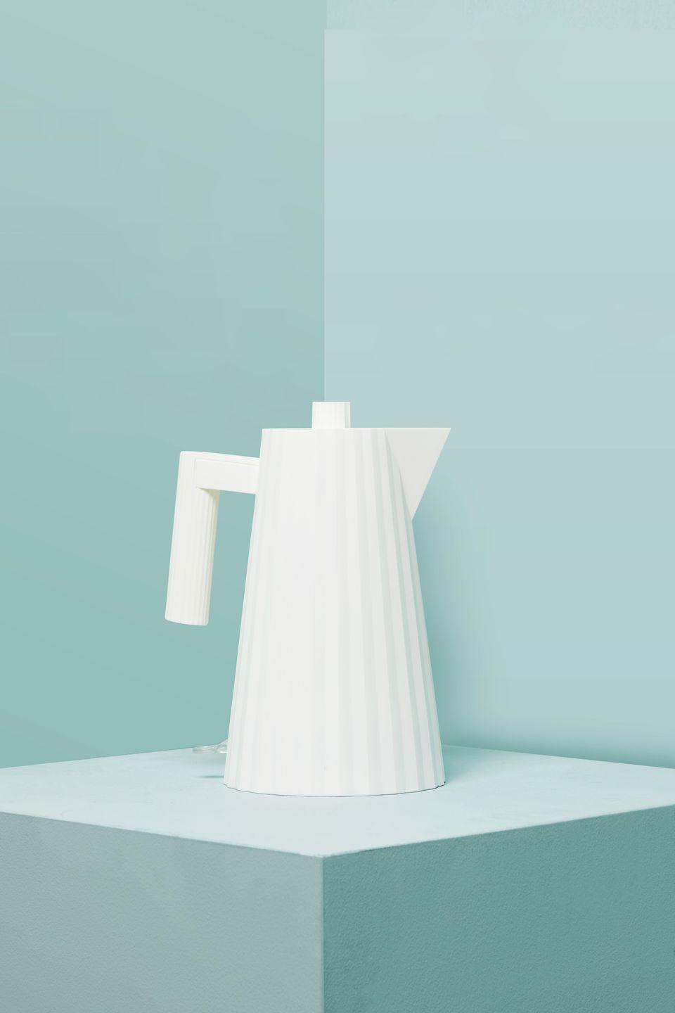 """<p>Lauded Italian architect and designer Michele De Lucchi was inspired by the pleated fabric of fifties and sixties fashion when creating his 'Plissé' kitchen range, and the effect feels almost architectural. We like the white, but it also comes in grey, black and a particularly punchy red. £85.10, <a href=""""https://www.finnishdesignshop.com/kitchenware-small-appliances-kettles-plisse-electric-kettle-white-p-26039.html"""" rel=""""nofollow noopener"""" target=""""_blank"""" data-ylk=""""slk:finnishdesignshop.com"""" class=""""link rapid-noclick-resp"""">finnishdesignshop.com</a></p>"""