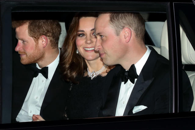 Kate, William, and Harry all made an appearance at the Queen's platinum wedding anniversary celebration. (Photo: Getty Images)