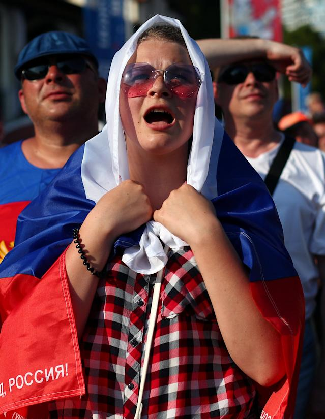 Soccer Football - World Cup - Group A - Russia vs Uruguay - Fan's zone, Sochi, Russia June 25, 2018 A Russian fan reacts during the match. REUTERS/Hannah McKay