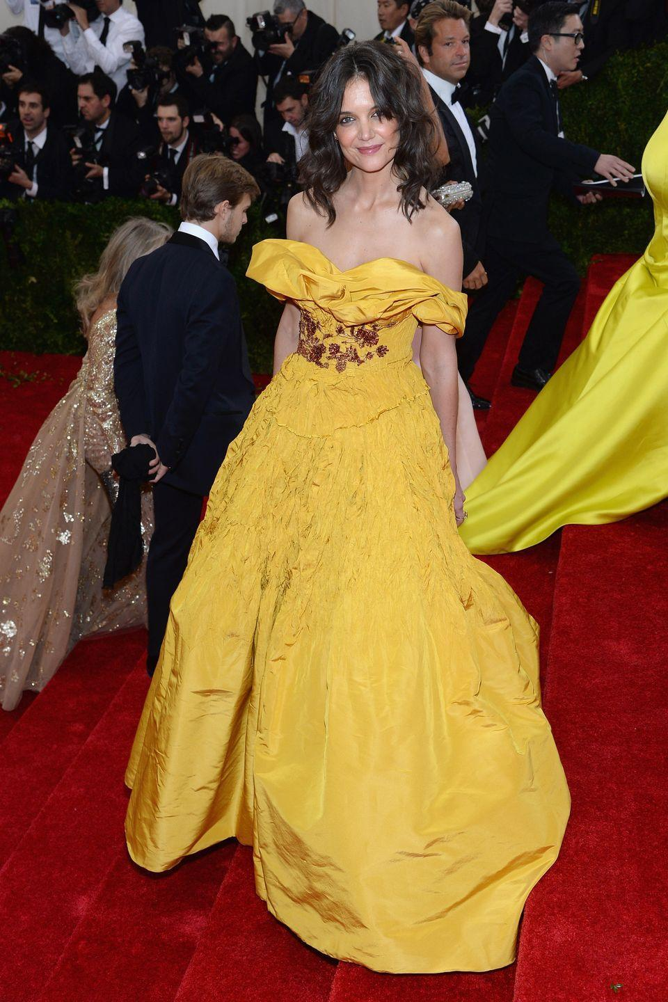 <p>Katie Holmes' 2014 Met Gala gown looks like it was taken straight from <em>Beauty and the Beast</em>.</p>