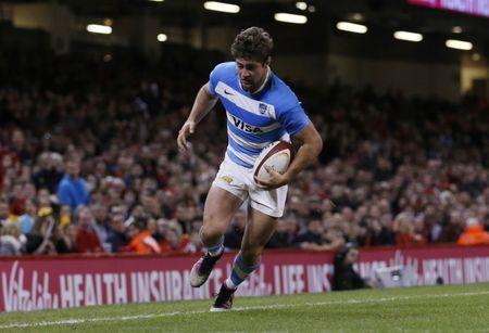 FILE PHOTO: Britain Rugby Union - Wales v Argentina - Principality Stadium, Cardiff, Wales - 12/11/16 Argentina's Ramiro Moyano walks the ball into touch Action Images via Reuters / Andrew Boyers Livepic