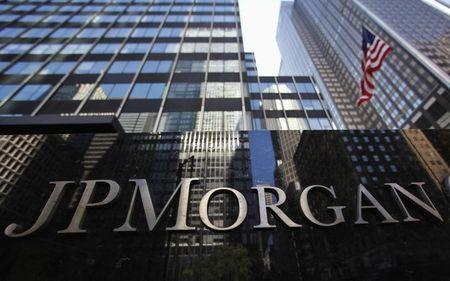 JP Morgan Chase & Co sign outside headquarters in New York