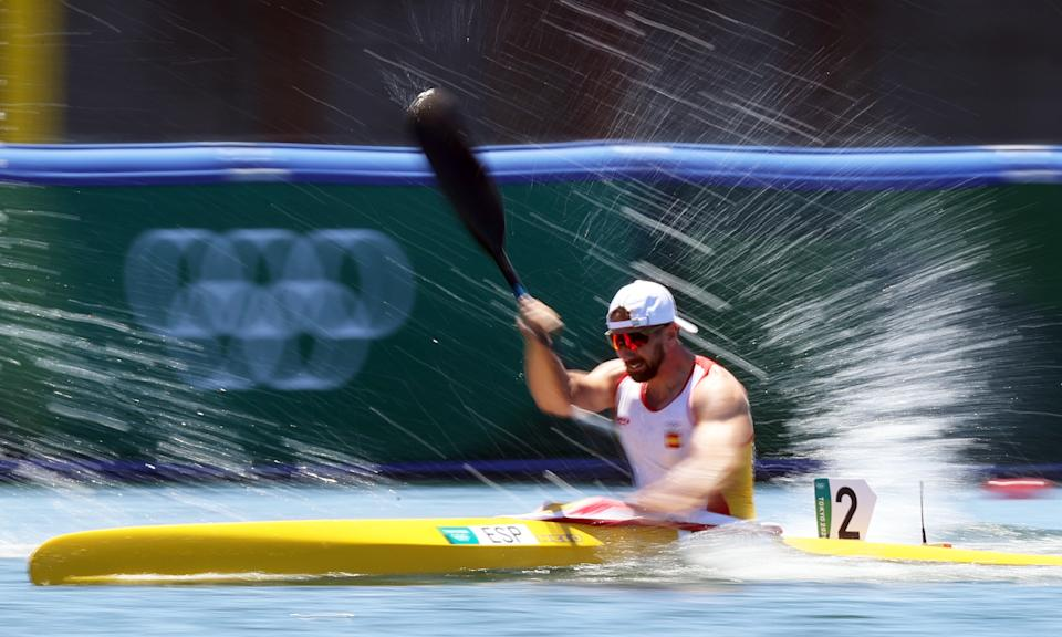 TOKYO, JAPAN  AUGUST 5, 2021: Carlos Arevalo of Spain competes in the men's 200m kayak single final during the Tokyo 2020 Summer Olympic Games, at the Sea Forest Waterway. Sergei Bobylev/TASS (Photo by Sergei Bobylev\TASS via Getty Images)