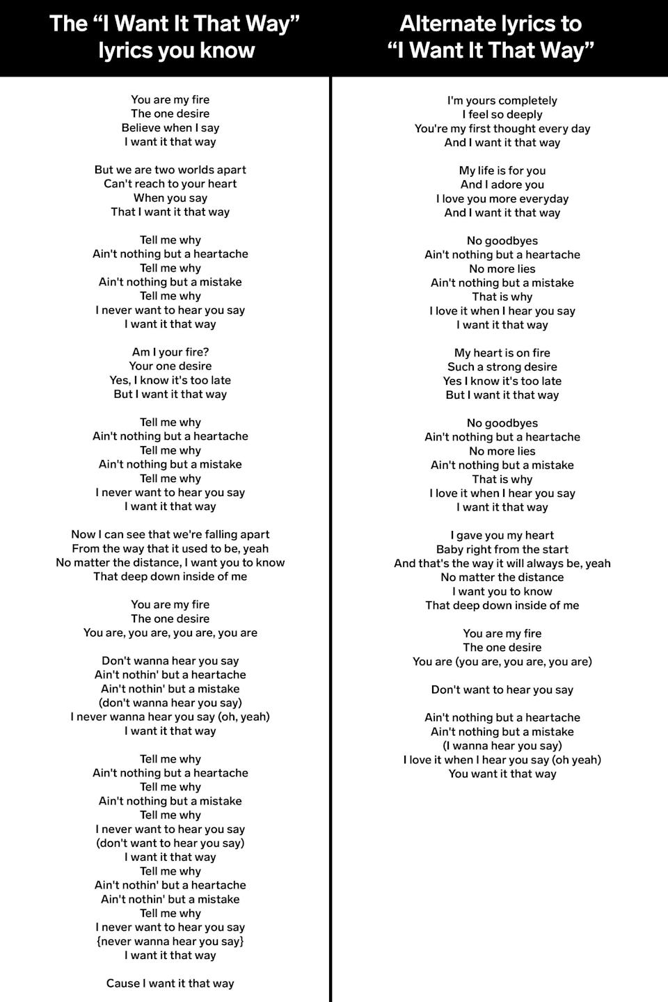 i want it that way lyrics