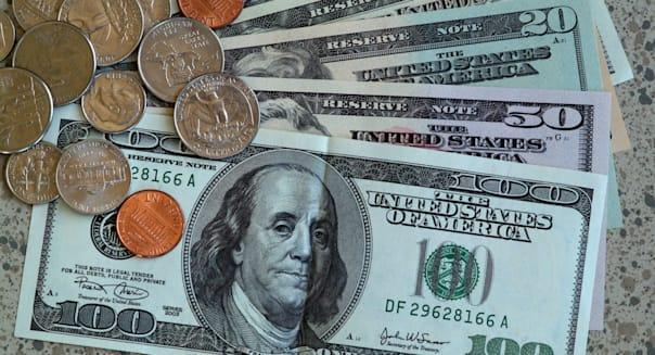 American currency. Dollar notes and coins.USA