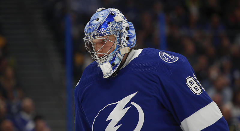 TAMPA, FL - OCTOBER 23: Tampa Bay Lightning goaltender Andrei Vasilevskiy (88) skates during the NHL game between the Pittsburgh Penguins and Tampa Bay Lightning on October 23, 2019 at Amalie Arena in Tampa, FL. (Photo by Mark LoMoglio/Icon Sportswire via Getty Images)