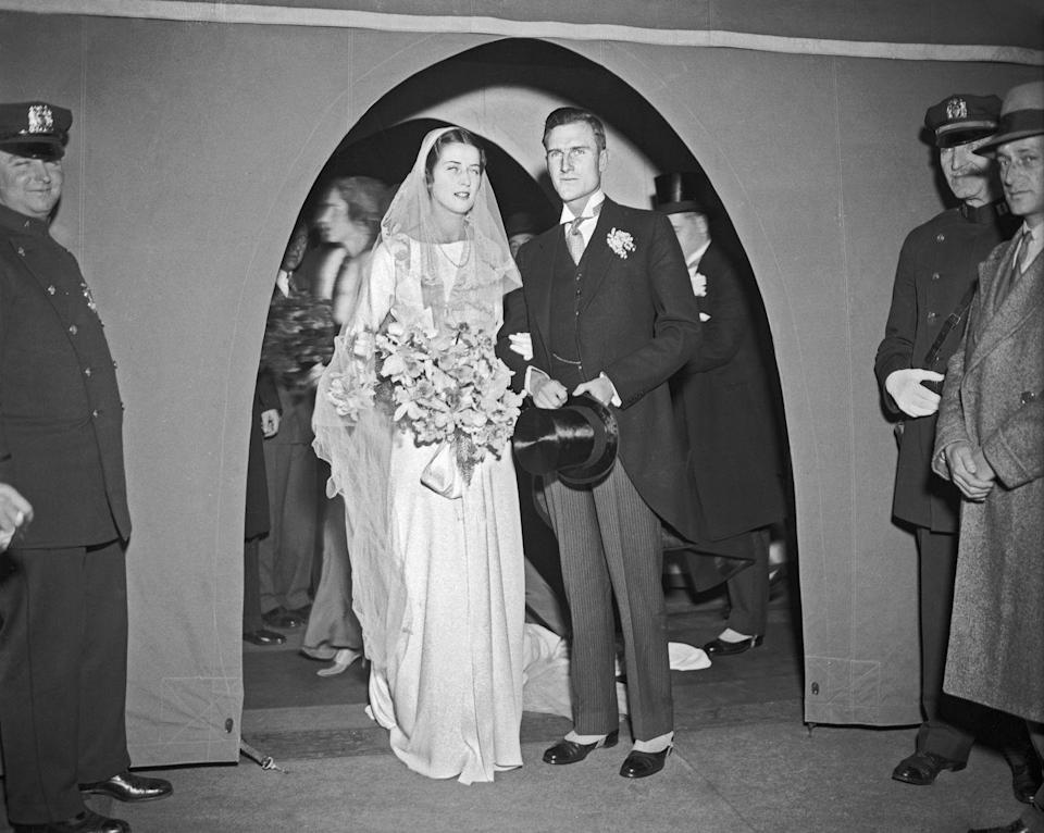 <p>John D. Rockefeller III married prominent philanthropist Blanchette Hooker in 1932 when she was in her early 20s. The pair had their *extremely* fancy reception at the Colony Club on Park Avenue. Her dress is a surprisingly modern silhouette given the era, no?</p>