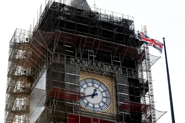 Big Ben, which is undergoing renovations, pictured earlier this month. (Adrian Dennis/AFP via Getty Images)