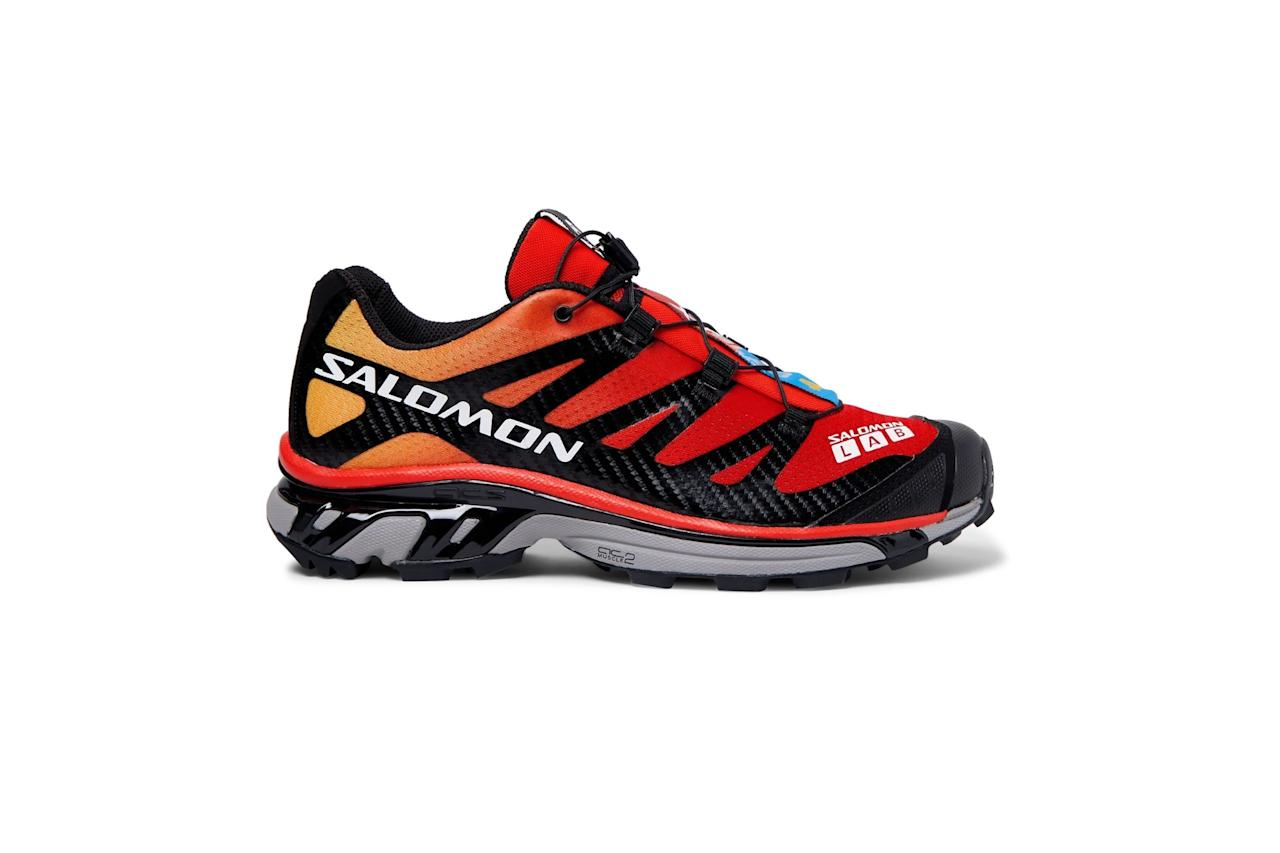 """Fire red shoes for your red hot fall. —Cam Wolf $250, Mr Porter. <a href=""""https://www.mrporter.com/en-us/mens/product/salomon/running-shoes/slab-xt-4-adv-mesh-and-rubber-running-sneakers/10802260992134061"""">Get it now!</a>"""