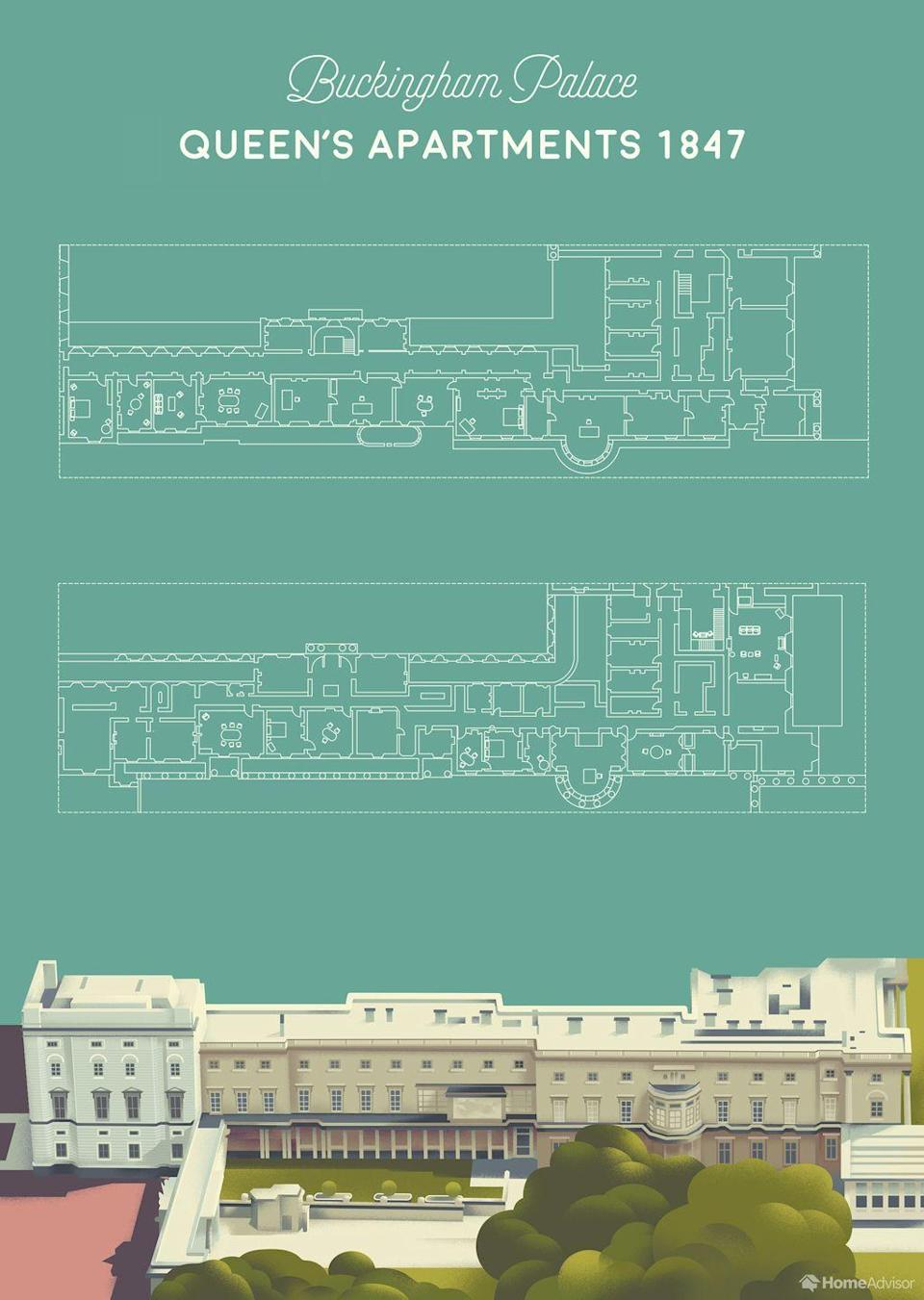 <p>The second of the three main sections of Buckingham Palace identified by the HomeAdvisor researchers are the Queen's Apartments. Even though the palace boasts a staggering 775 rooms, the six that make up the Queen's private apartments are definitely the ones in which the monarch spends the most time. </p><p>The Queen, like pretty much every member of the British royal family, values her privacy greatly, so very few pictures from this section of the palace have been made public over the years. The only exception to the intense privacy rule in this section Buckingham Palace is the Audience Room, where the Queen meets weekly with Prime Minister and for private meetings with the Chancellor of the Exchequer before a new budget is announced. The Queen has also been known to hold audiences here with visiting heads of state who aren't on an official state visit. </p>