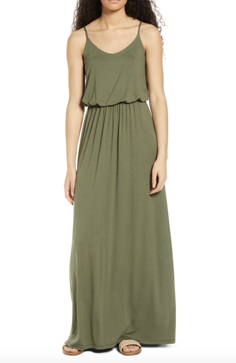 All In Favour Knit Maxi Dress in Dark Olive