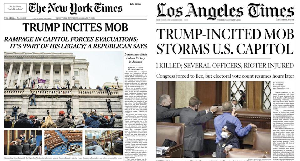 The New York Times (left) and the Los Angeles Times (right) front pages