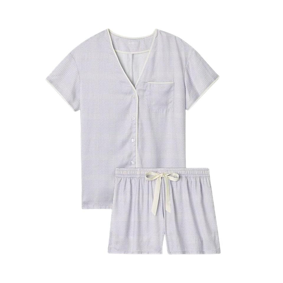"""Summersalt wouldn't call its pajamas Cloud 9 if they didn't live up to their heavenly soft name. $85, Summer Salt. <a href=""""https://www.summersalt.com/collections/sleepwear/products/the-cloud-9-silky-pj-shorts-set-modern-plaid-in-lavender"""" rel=""""nofollow noopener"""" target=""""_blank"""" data-ylk=""""slk:Get it now!"""" class=""""link rapid-noclick-resp"""">Get it now!</a>"""