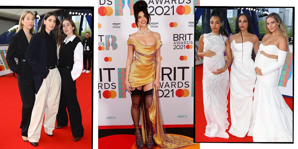 """<p>Music's biggest names came out in force last night for the 41st annual BRIT awards.</p><p>Dua Lipa, Olivia Rodrigo and Griff were just some of the names who performed at the show at London's O2 arena, stopping to grace the red carpet with their presence beforehand.</p><p><a href=""""https://www.elle.com/uk/fashion/celebrity-style/g30975153/celebrities-first-brit-awards/"""" rel=""""nofollow noopener"""" target=""""_blank"""" data-ylk=""""slk:The BRITs has always been an occasion for experimental, bold fashion"""" class=""""link rapid-noclick-resp"""">The BRITs has always been an occasion for experimental, bold fashion</a> and this year was no different, with Haim, who won International Group, all eschewing traditional red carpet gown for The Row's tailoring, and Little Mix, who made history becoming the first female group to win British Group, dressing their 2/3 pregnancy bumps in white designer gowns. Harry Styles proved with 1970s-style isn't going anywhere in Gucci, while Lipa and Taylor Swift both wore custom-made ensembles. </p><p>Here are the best looks from the night.</p>"""