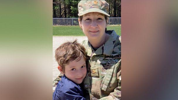 PHOTO: Sandra Daoust and her son, Seth, reunited after she was deployed for a month and a half to serve at New York City's Javits Center to help on the front lines against COVID-19. (Courtesy Sandra Daoust)