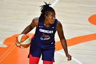 """<p>Atkins was drafted seventh overall to the WNBA in 2018 after attending four years at the University of Texas in Austin. She has one WNBA championship title under her belt that she earned in 2019 with the Washington Mystics. This will be Atkins's first Olympic Games. You can <a href=""""http://www.usab.com/basketball/players/womens/a/atkins-ariel.aspx"""" class=""""link rapid-noclick-resp"""" rel=""""nofollow noopener"""" target=""""_blank"""" data-ylk=""""slk:check out her USA Basketball profile here"""">check out her USA Basketball profile here</a>.</p> <p><strong>Age:</strong> 24</p> <p><strong>Current WNBA Team:</strong> Washington Mystics</p> <p><strong>Position:</strong> Guard</p> <p><strong>Instagram:</strong> <a href=""""http://www.instagram.com/iamarielatkins/"""" class=""""link rapid-noclick-resp"""" rel=""""nofollow noopener"""" target=""""_blank"""" data-ylk=""""slk:@iamarielatkins"""">@iamarielatkins</a></p>"""
