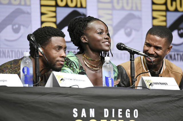 <p>Chadwick Boseman, Lupita Nyong'o, and Michael B. Jordan preview <em>Black Panther</em> panel at Comic-Con International on July 22, 2017. (Photo by Richard Shotwell/Invision/AP) </p>