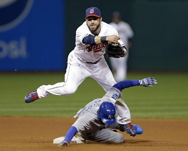 Cleveland Indians second baseman Jason Kipnis, top, is taken out by Kansas City Royals' Jarrod Dyson at second base in the seventh inning of a baseball game on Wednesday, April 23, 2014, in Cleveland. Kipnis' throw to first failed to complete a double play on Royals' Norichika Aoki. (AP Photo/Mark Duncan)