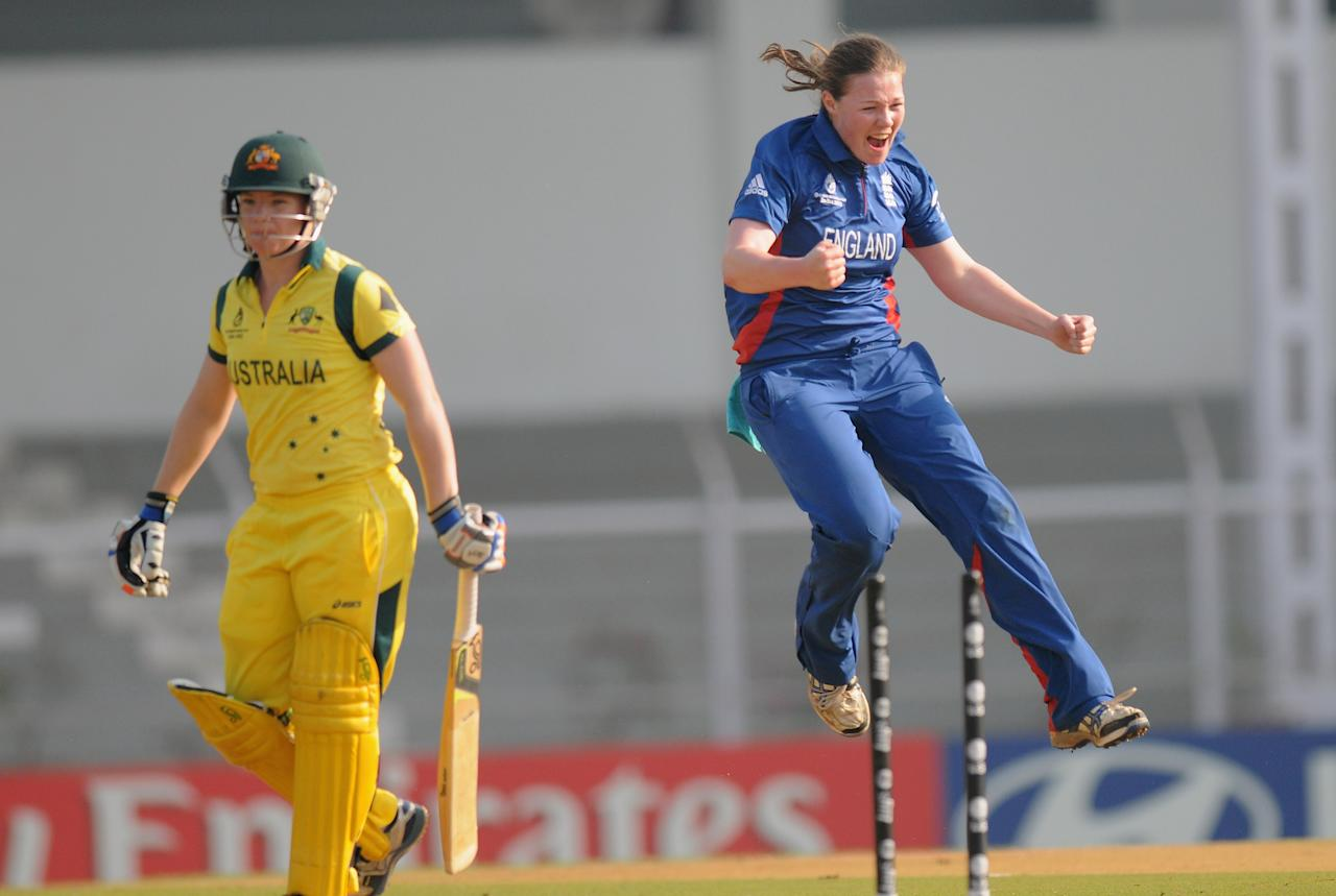 MUMBAI, INDIA - FEBRUARY 08:  Anya Shrubsole of England celebrates the wicket of Jessica Cameron of Australia during the super six match  between England and Australia held at the CCI (Cricket Club of India)  on February 8, 2013 in Mumbai, India.  (Photo by Pal Pillai/Getty Images)