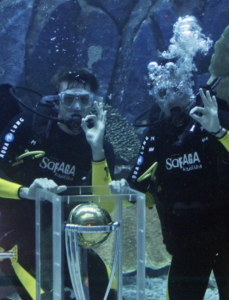 South African cricket players, Morne Morkel, left, and Dale Steyn pose with the ICC Cricket World Cup Trophy in the Dubai Aquarium & Under Water Zoo to mark the 100-day countdown to the opening ceremony for the Cricket World Cup 2011, Dubai, United Arab Emirates, Tuesday Nov. 2010.