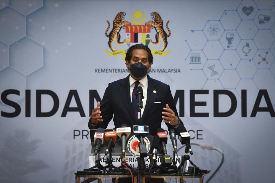 Health Minister Khairy Jamaluddin said measures mandating Covid-19 vaccines for the entire population of Malaysia is the final proposed initiative currently being considered by the Health Ministry. — Bernama pic