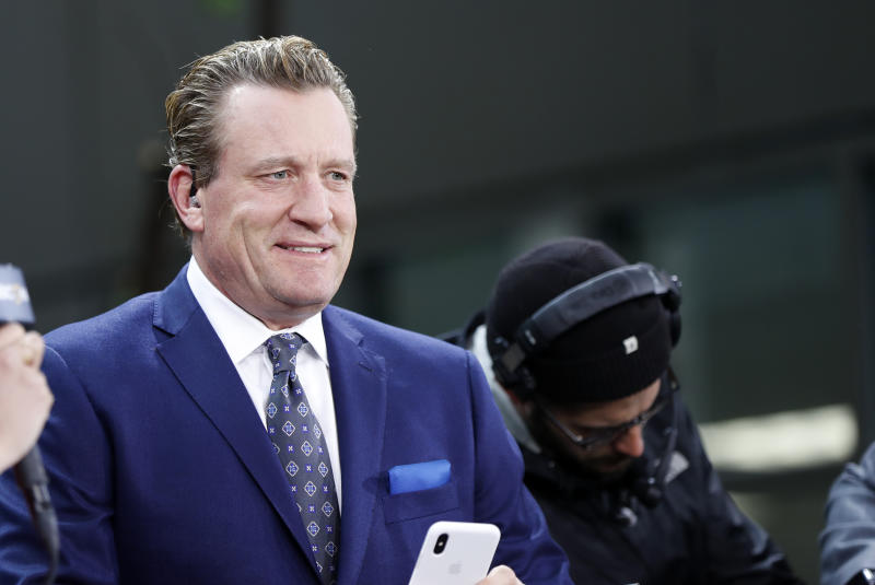 NBCSN's Jeremy Roenick checks his phone before Game 2 of the 2019 Stanley Cup Finals between the Boston Bruins and the St. Louis Blues on May 29, 2019, at TD Garden in Boston, Massachusetts. (Photo by Fred Kfoury III/Icon Sportswire via Getty Images)