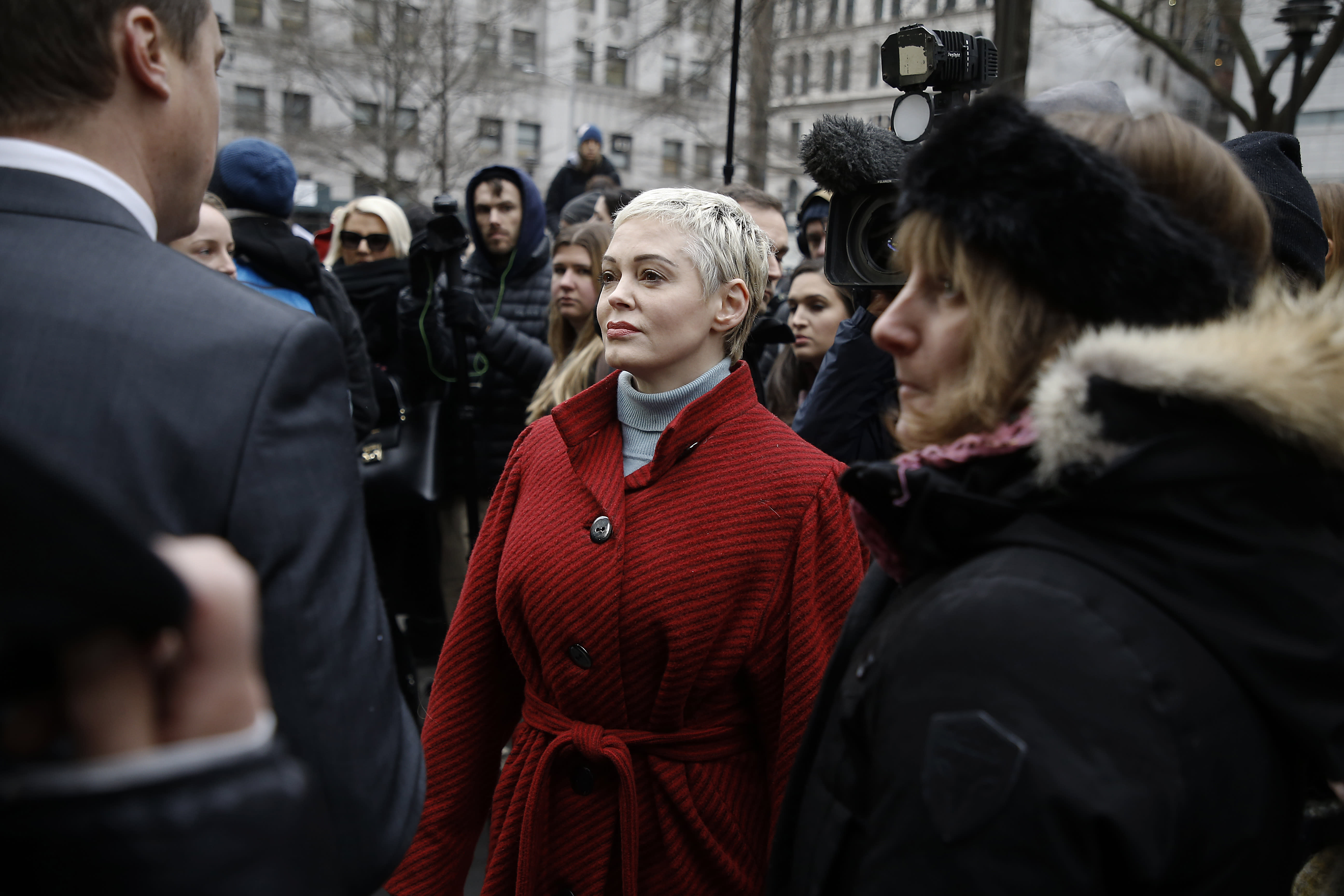 NEW YORK, UNITED STATES, JANUARY 6, 2020: Rose McGowen leaves a press conference during Harvey Weinstein's first day in court. According to CNN Mr. Weinstein was accused by more than eighty women of sexual abuse ranging from harassment to rape. He is charged with predatory sexual assault, criminal sexual act, first-degree rape and third-degree rape.- PHOTOGRAPH BY John Lamparski / Echoes Wire/ Barcroft Media (Photo credit should read John Lamparski / Echoes Wire / Barcroft Media via Getty Images)