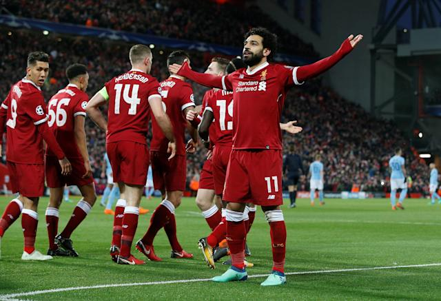 <p>Soccer Football – Champions League Quarter Final First Leg – Liverpool vs Manchester City – Anfield, Liverpool, Britain – April 4, 2018 Liverpool's Mohamed Salah celebrates scoring their first goal REUTERS/Andrew Yates </p>