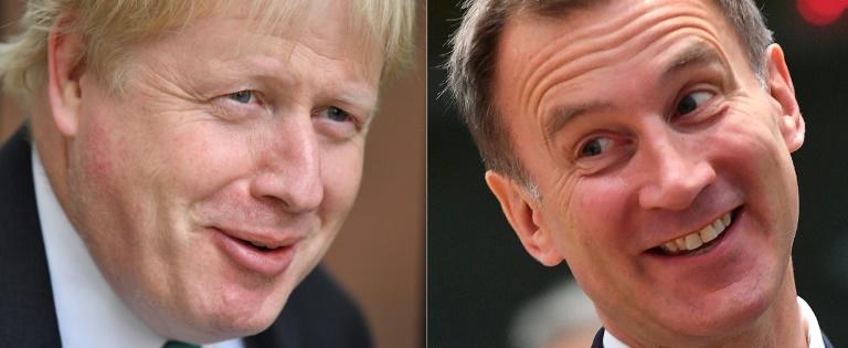 Boris Johnson and Jeremy Hunt, vying to replace Theresa May as prime minister, have both pledged to renegotiate the Brexit deal to get better terms or leave without one -- but the EU is adamant it will not budge (AFP Photo/Ben STANSALL, Emmanuel DUNAND)