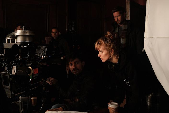Writer and first-time director Rose Glass on the set of Saint Maud