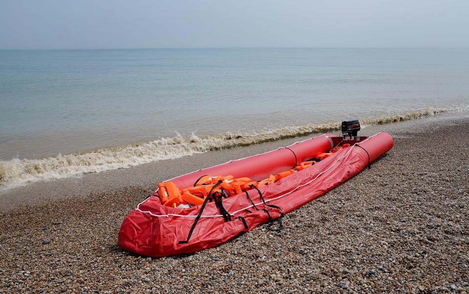 A boat thought to be used in a migrant crossing (Gareth Fuller/PA) (PA Wire)