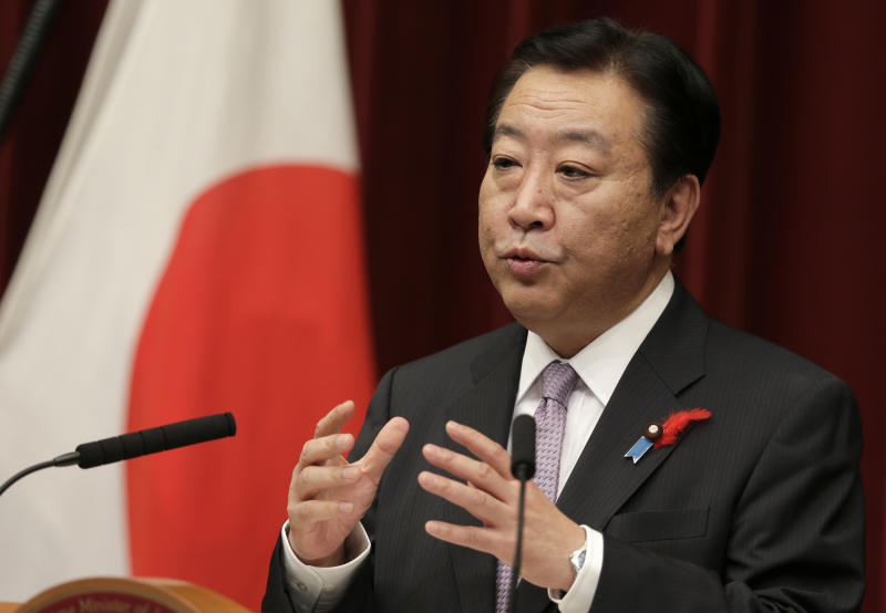 Japan's Prime Minister Yoshihiko Noda speaks during a press conference at the prime minister's official residence in Tokyo, Monday, Oct. 1, 2012. Noda has reshuffled his Cabinet for the third time this year in hopes of boosting flagging public support for his government. (AP Photo/Shizuo Kambayashi)
