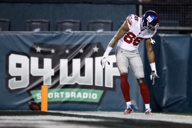 New York Giants' Darius Slayton reacts after scoring a touchdown during the first half of an NFL football game against the Philadelphia Eagles, Monday, Dec. 9, 2019, in Philadelphia. (AP Photo/Matt Rourke)