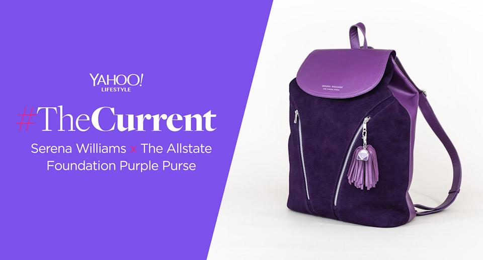 #TheCurrent: Serena Williams introduces a purple backpack with Allstate Foundation Purple Purse to support domestic violence victims. (Photo: Allstate Foundation Purple Purse)