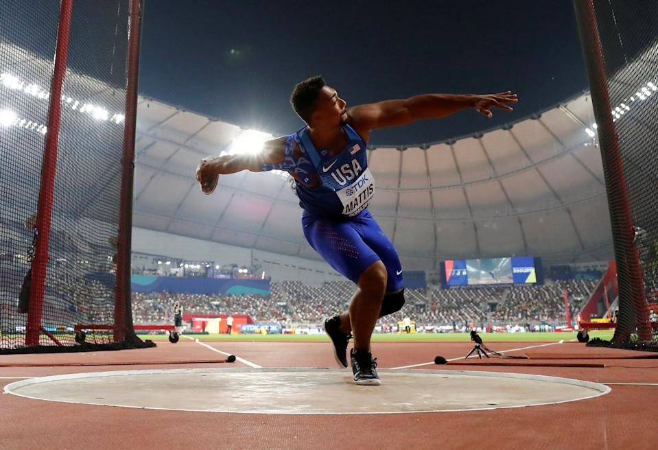 Olympic athlete Sam Mattis competes in the discus throw at the World Athletics Championships in Doha, Qatar, September 28, 2019. REUTERS/Kai Pfaffenbach