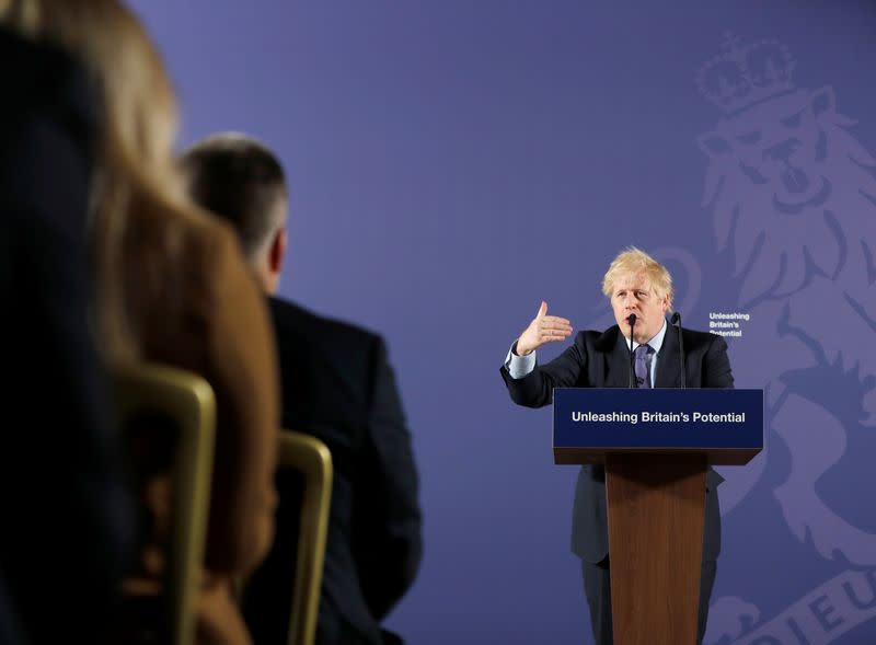 British Prime Minister Boris Johnson outlines his government's negotiating stance with the European Union after Brexit, in London