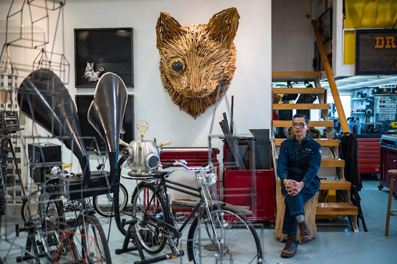 Hong Kong artist Kacey Wong's work is a protest in a city struggling to square its vast cultural ambitions with an increasingly assertive Beijing (AFP Photo/Anthony WALLACE)