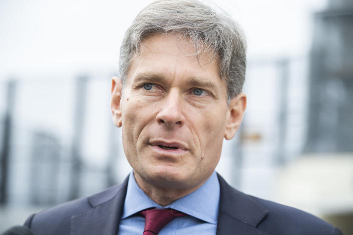 Rep. Tom Malinowski, D-N.J., is seen outside the Capitol  in 2019. (Tom Williams/CQ-Roll Call, Inc via Getty Images)