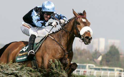 <span>Silver Birch ridden by Robbie Power jumps the last fence on the way to winning the 2007 Grand National Steeple chase</span> <span>Credit: Reuters </span>