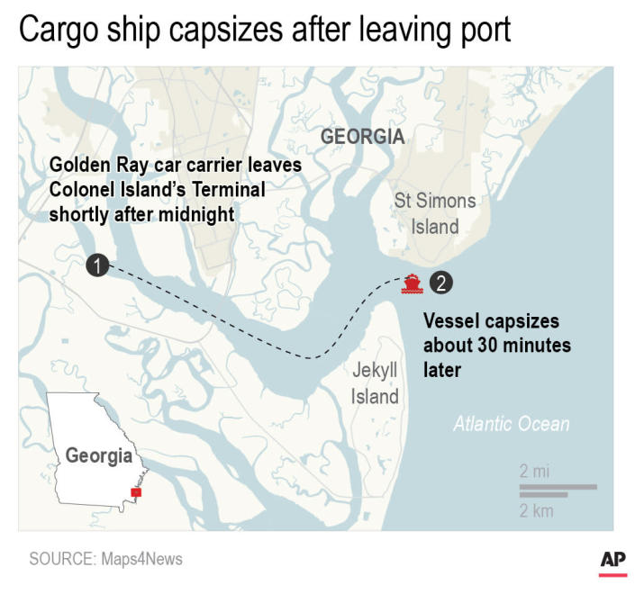 UPDATES map to show marshlands and adds timeline and changes starting location to Colonel Island's Terminal; map shows capsized cargo ship near Georgia port; 1c x 3 inches; 46.5 mm x 76 mm;
