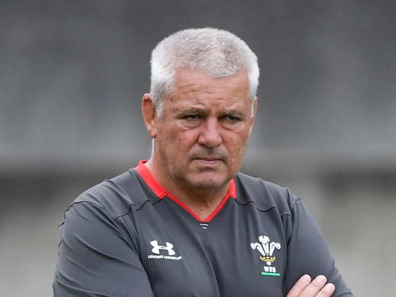 Gatland watches on during Wales training: AFP via Getty