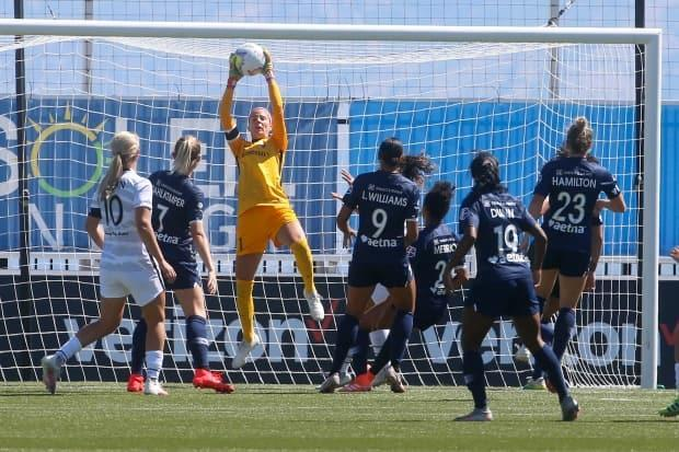 Labbé makes a save as goalkeeper for the North Carolina Courage of the National Women's Soccer League during the Challenge Cup in 2020.